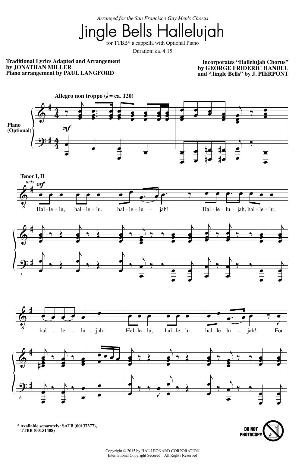 Jonathan Miller Hallelujah Chorus sheet music notes and chords. Download Printable PDF.