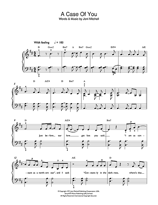 Joni Mitchell A Case Of You sheet music notes and chords. Download Printable PDF.