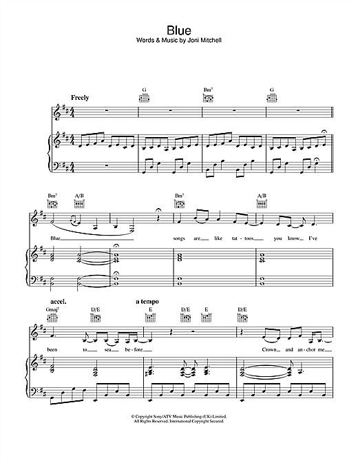 Joni Mitchell Blue sheet music notes and chords. Download Printable PDF.