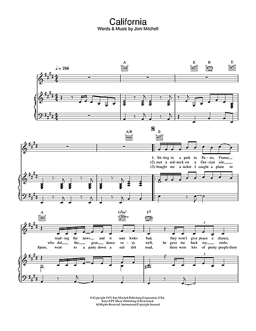 Joni Mitchell California sheet music notes and chords. Download Printable PDF.