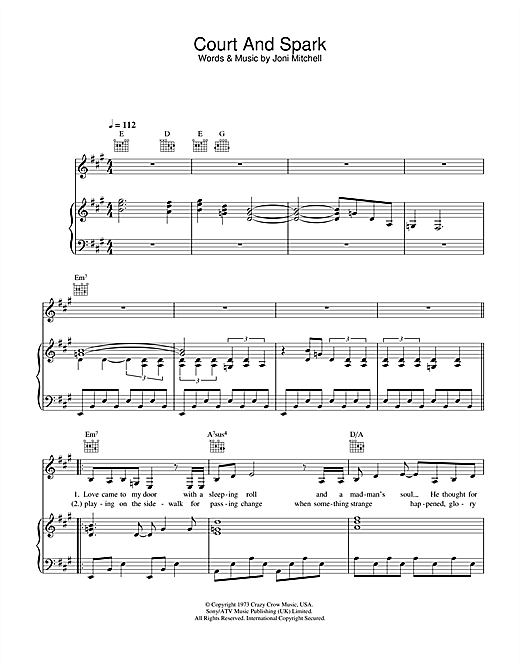 Joni Mitchell Court And Spark sheet music notes and chords. Download Printable PDF.