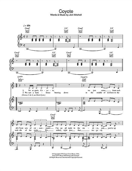 Joni Mitchell Coyote sheet music notes and chords. Download Printable PDF.