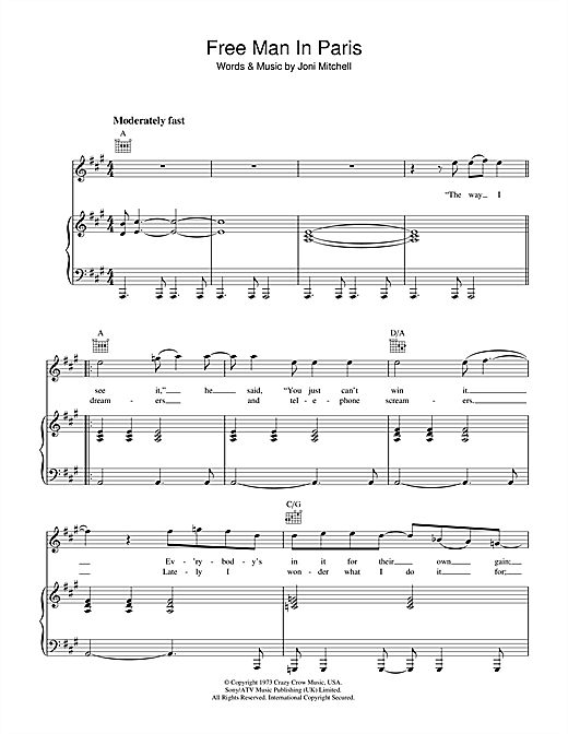 Joni Mitchell Free Man In Paris sheet music notes and chords