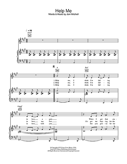 Joni Mitchell Help Me sheet music notes and chords. Download Printable PDF.
