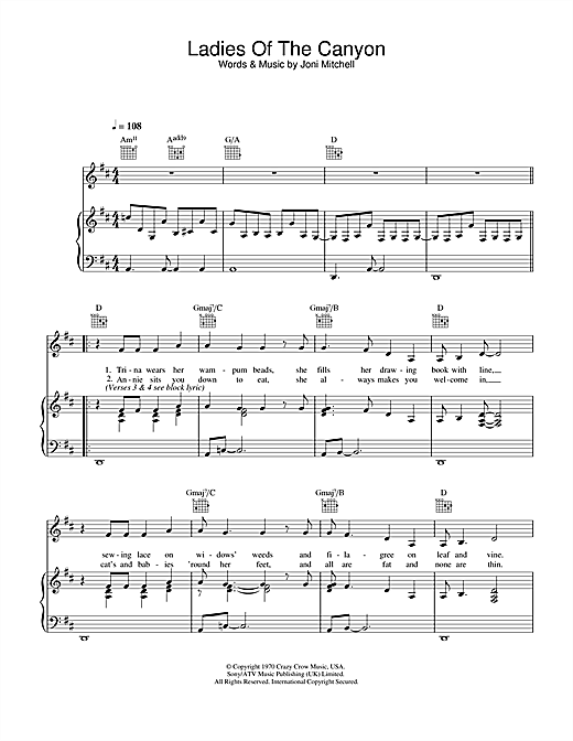 Joni Mitchell Ladies Of The Canyon sheet music notes and chords. Download Printable PDF.