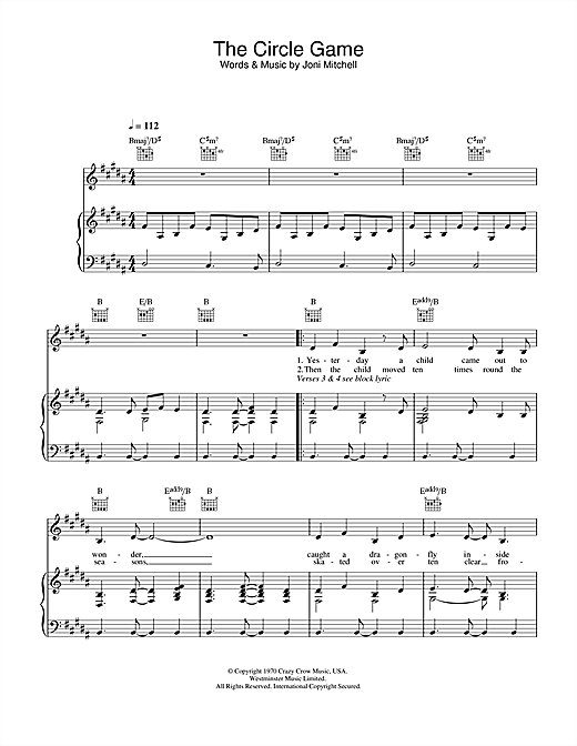 Joni Mitchell The Circle Game sheet music notes and chords. Download Printable PDF.