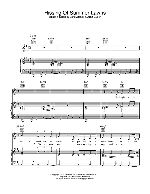 Joni Mitchell The Hissing Of Summer Lawns sheet music notes and chords. Download Printable PDF.