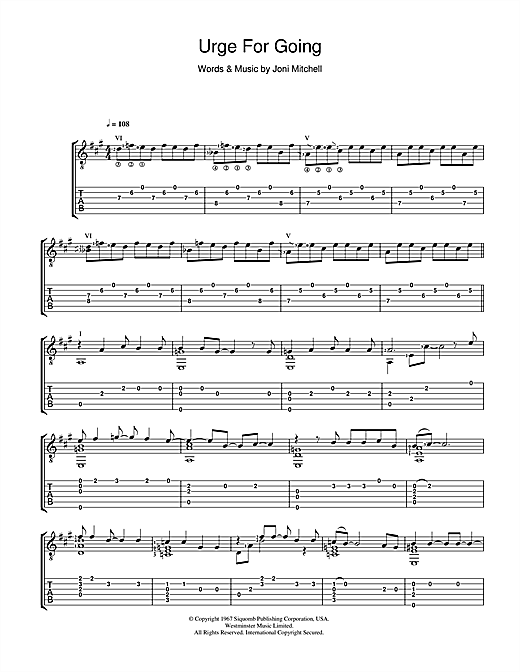 Joni Mitchell Urge For Going sheet music notes and chords. Download Printable PDF.
