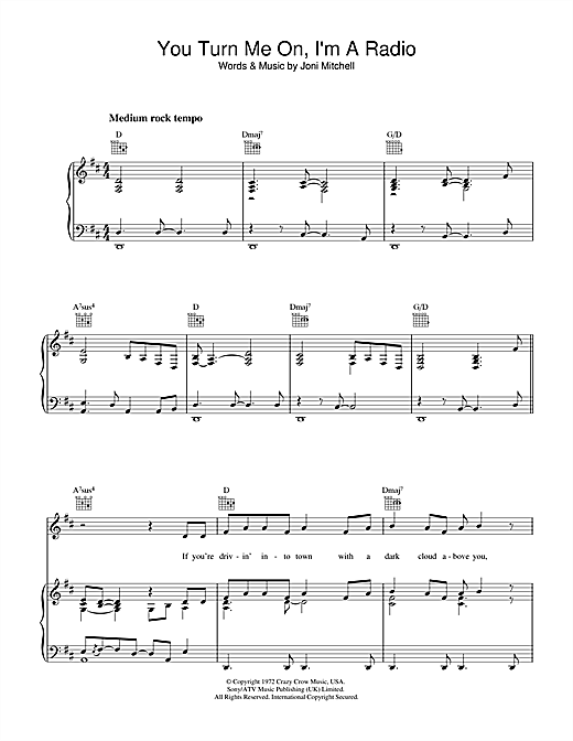 Joni Mitchell You Turn Me On I'm A Radio sheet music notes and chords. Download Printable PDF.