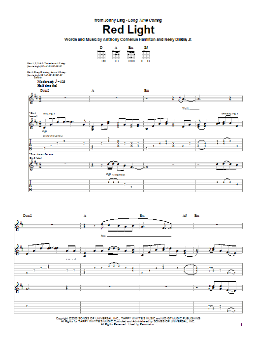 Jonny Lang Red Light sheet music notes and chords. Download Printable PDF.