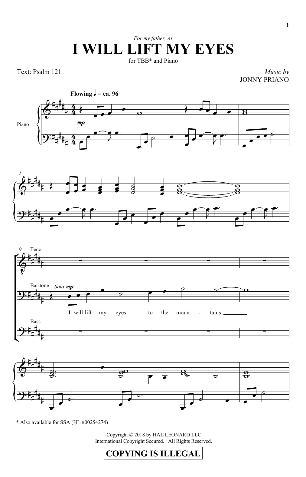 Jonny Priano I Will Lift My Eyes sheet music notes and chords