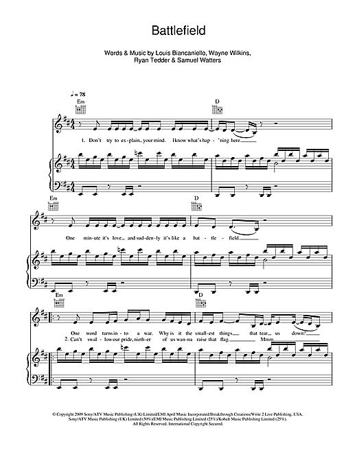 Jordin Sparks Battlefield sheet music notes and chords. Download Printable PDF.