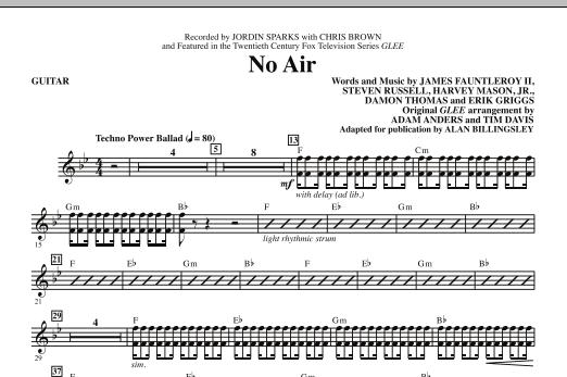 Jordin Sparks No Air (from Glee) (adapt. Alan Billingsley) - Guitar sheet music notes and chords. Download Printable PDF.