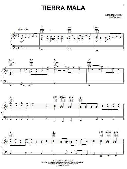 José A. Moya Tierra Mala sheet music notes and chords. Download Printable PDF.