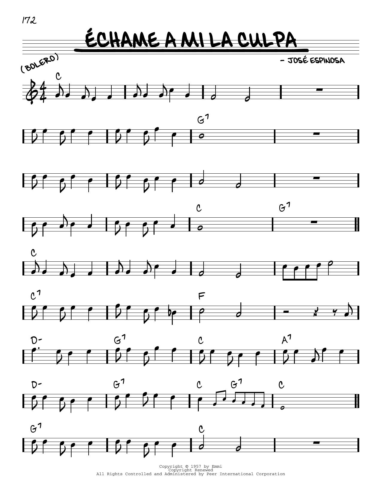José Espinosa Echame A Mi La Culpa sheet music notes and chords. Download Printable PDF.