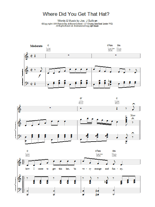 Jos J. Sullivan Where Did You Get That Hat? sheet music notes and chords. Download Printable PDF.