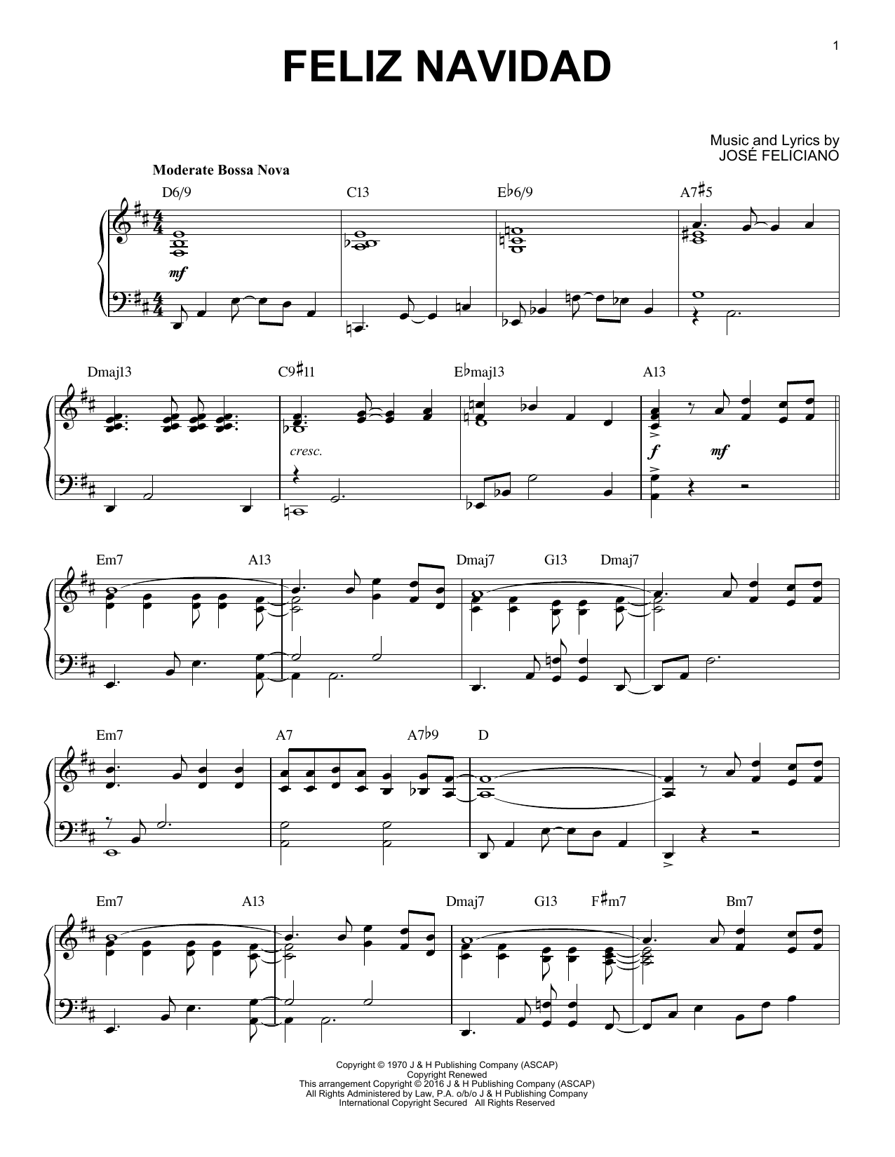 Jose Feliciano Feliz Navidad [Jazz version] (arr. Brent Edstrom) sheet music notes and chords. Download Printable PDF.