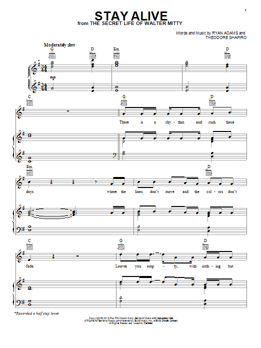 Jose Gonzalez Stay Alive sheet music notes and chords. Download Printable PDF.