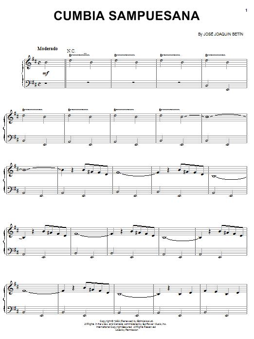 Jose Joaquin Betin Cumbia Sampuesana sheet music notes and chords. Download Printable PDF.
