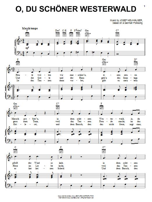 Josef Neuhauser O, Du Schoner Westerwald sheet music notes and chords. Download Printable PDF.