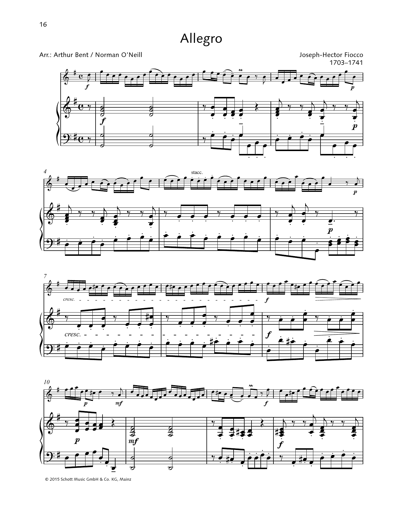 Joseph Hector Fiocco Allegro Sheet Music Pdf Notes Chords Classical Score String Solo Download Printable Sku 363171