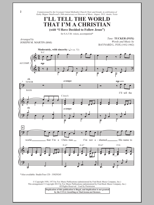 Joseph M. Martin I'll Tell The World That I'm A Christian sheet music notes and chords. Download Printable PDF.