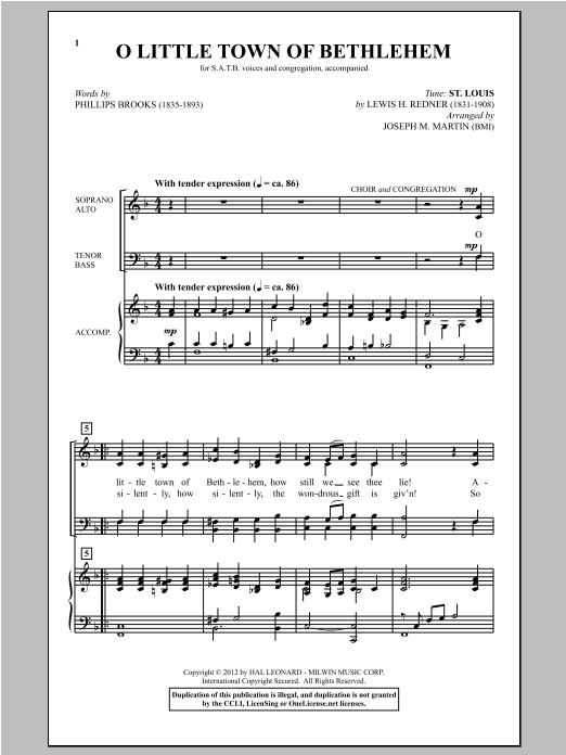 Joseph M. Martin O Little Town Of Bethlehem (from Carols For Choir And Congregation) sheet music notes and chords. Download Printable PDF.