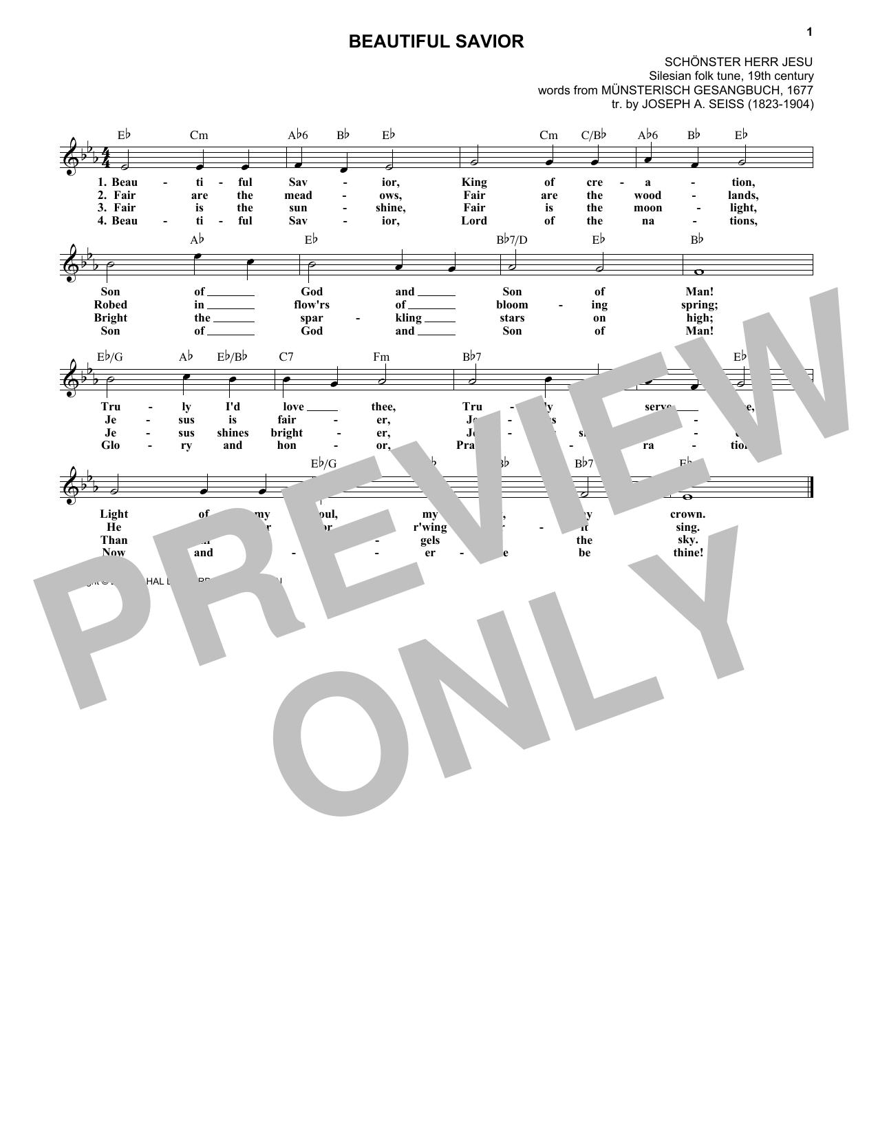 Joseph A. Seiss Beautiful Savior sheet music notes and chords