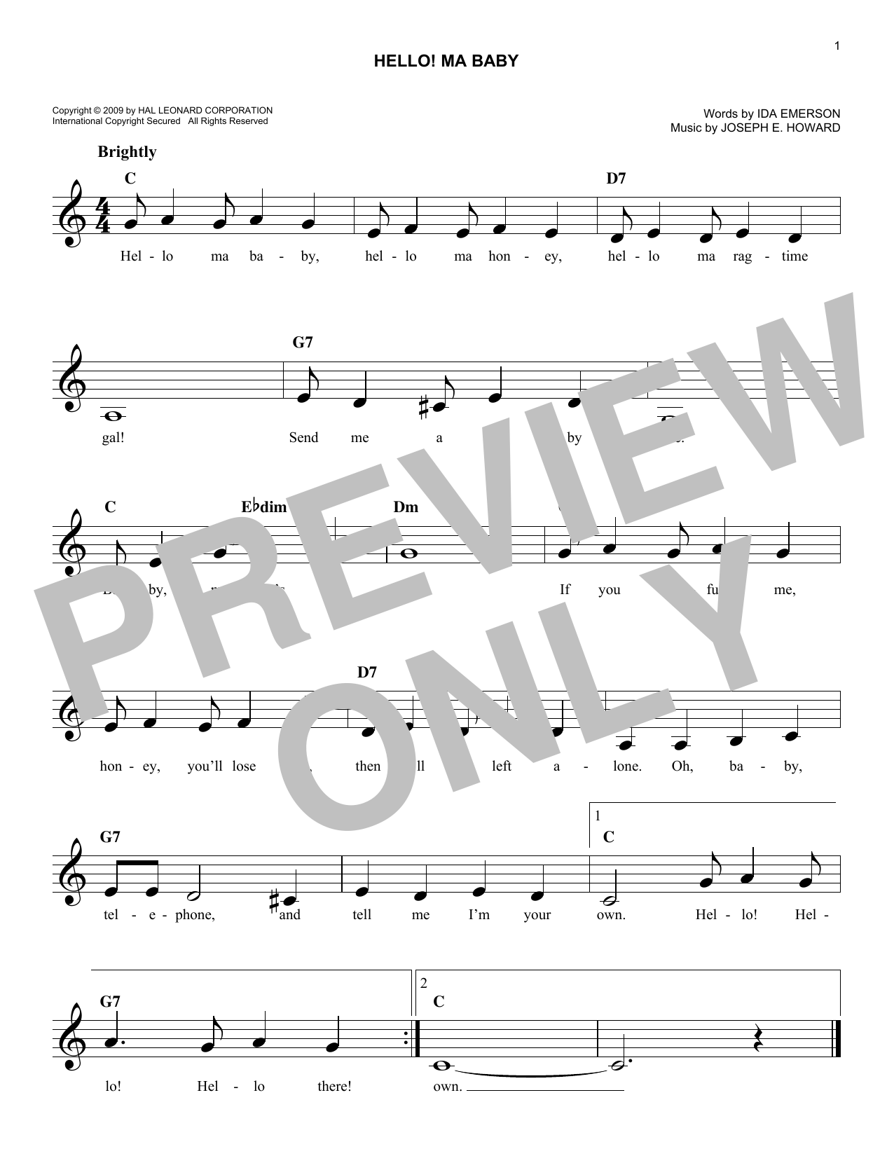 Joseph E. Howard Hello! Ma Baby sheet music notes and chords. Download Printable PDF.