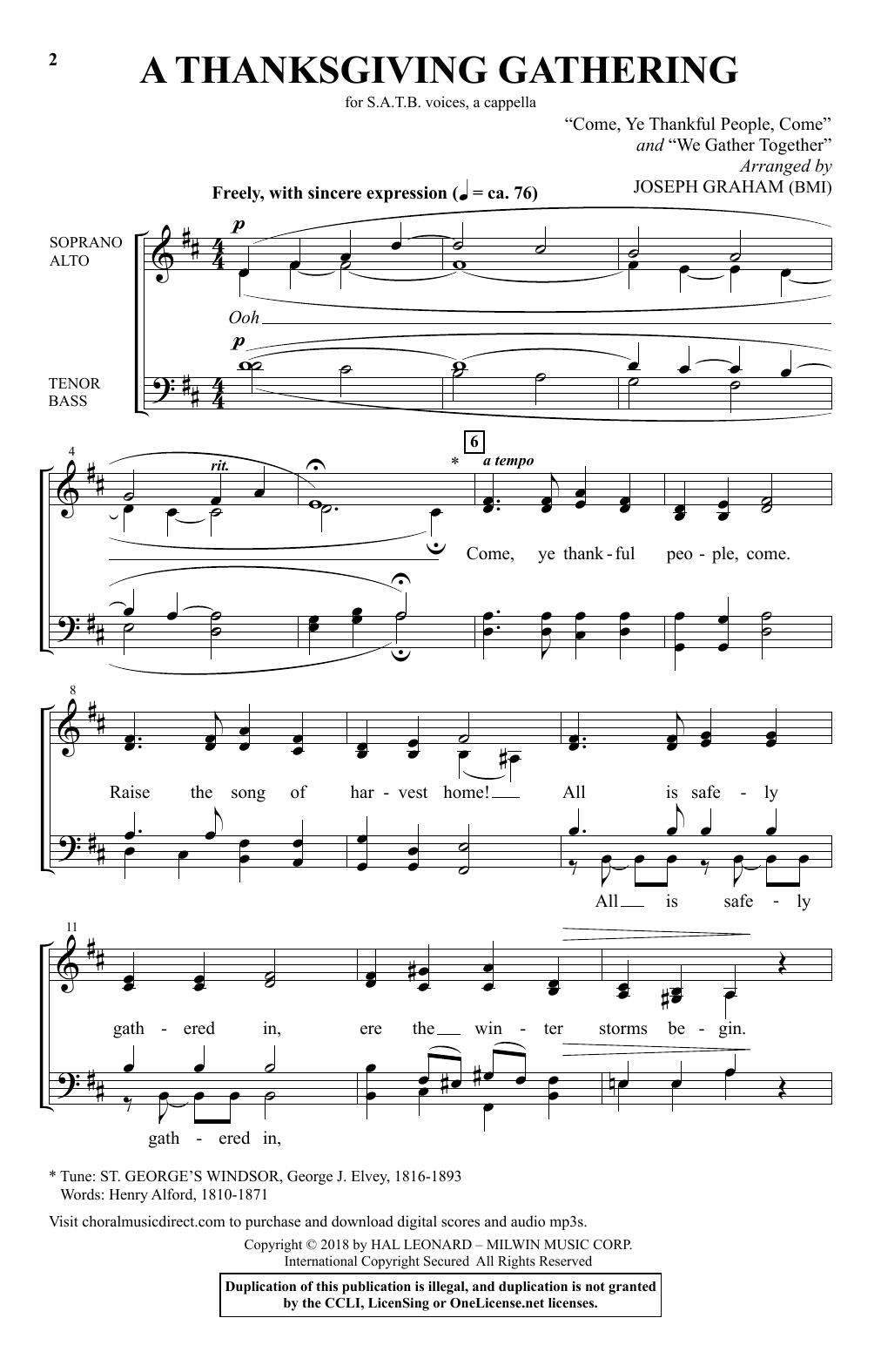 Joseph Graham A Thanksgiving Gathering sheet music notes and chords. Download Printable PDF.