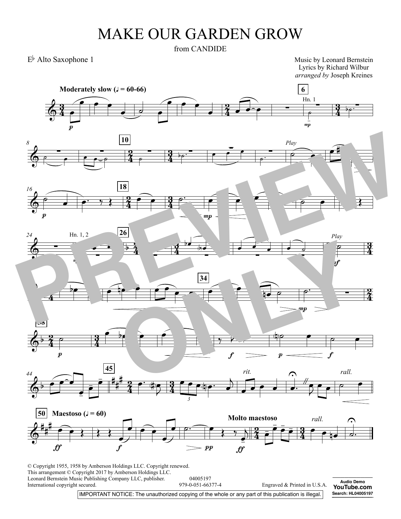 Joseph Kreines Make Our Garden Grow (from Candide) - Eb Alto Saxophone 1 sheet music notes and chords. Download Printable PDF.