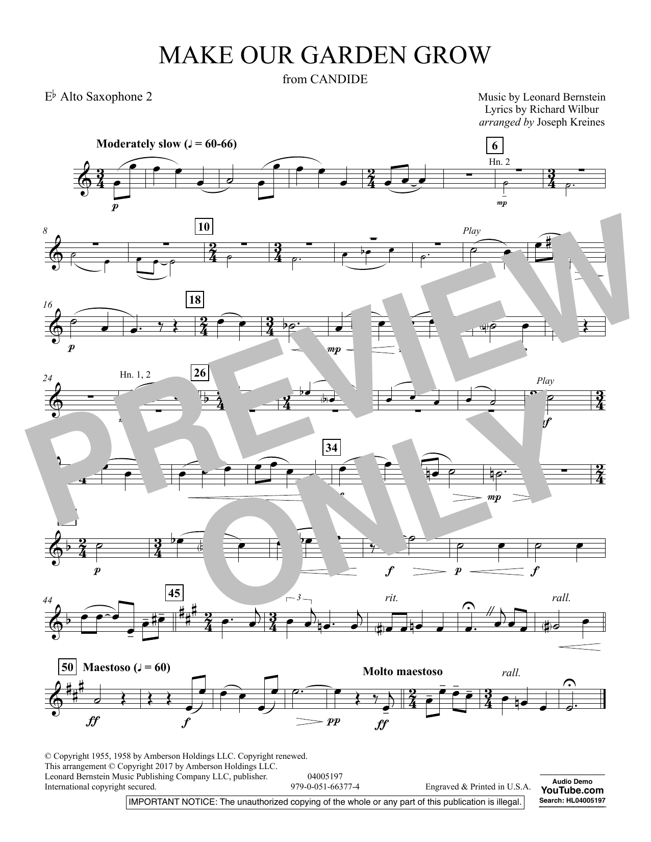 Joseph Kreines Make Our Garden Grow (from Candide) - Eb Alto Saxophone 2 sheet music notes and chords. Download Printable PDF.