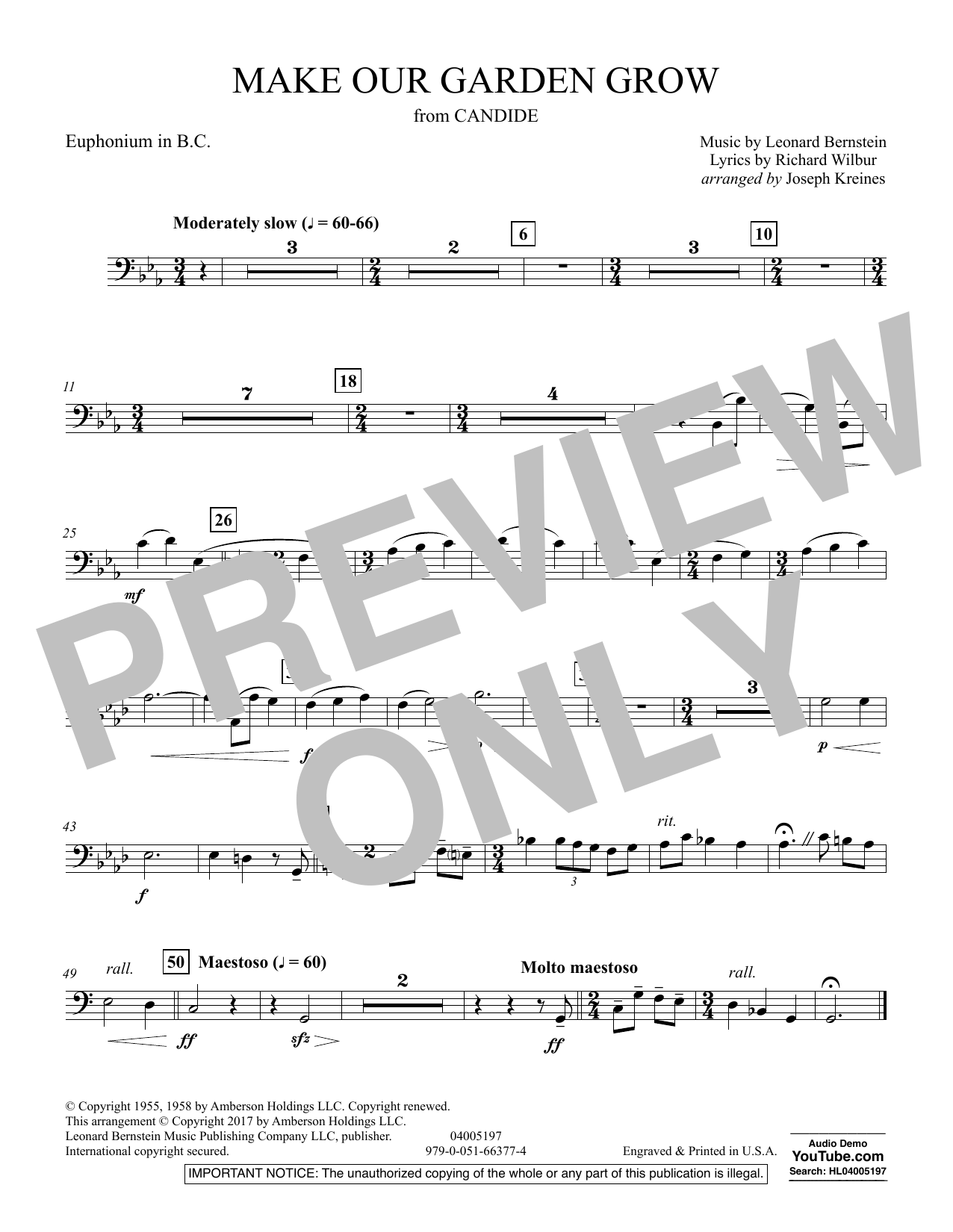 Joseph Kreines Make Our Garden Grow (from Candide) - Euphonium in Bass Clef sheet music notes and chords. Download Printable PDF.