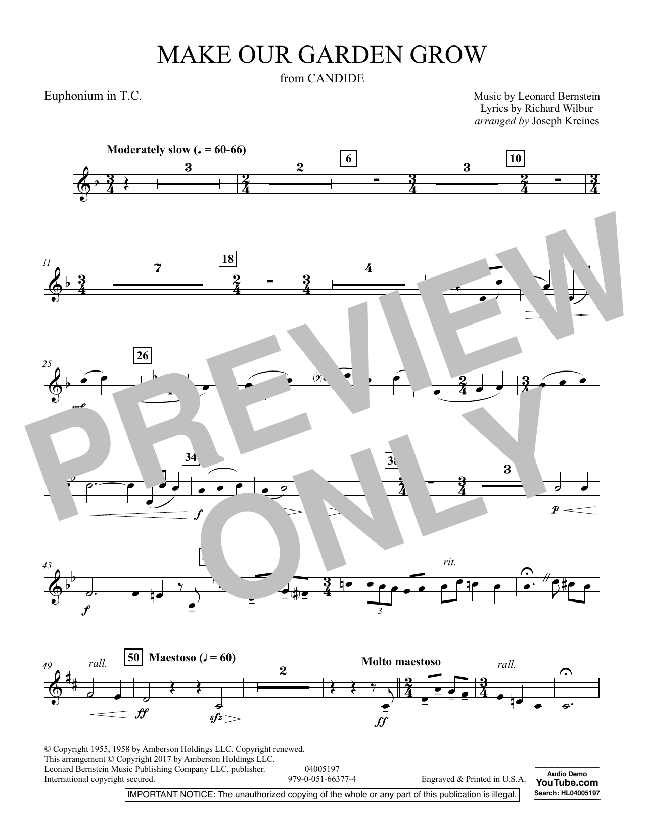 Joseph Kreines Make Our Garden Grow (from Candide) - Euphonium in Treble Clef sheet music notes and chords. Download Printable PDF.
