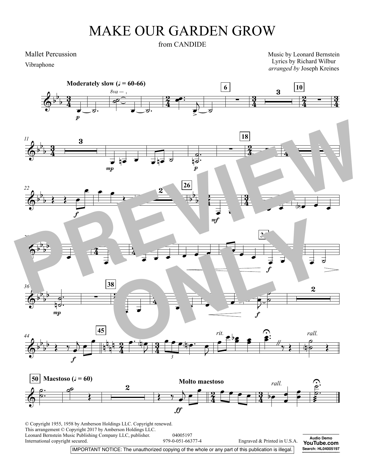 Joseph Kreines Make Our Garden Grow (from Candide) - Mallet Percussion sheet music notes and chords. Download Printable PDF.