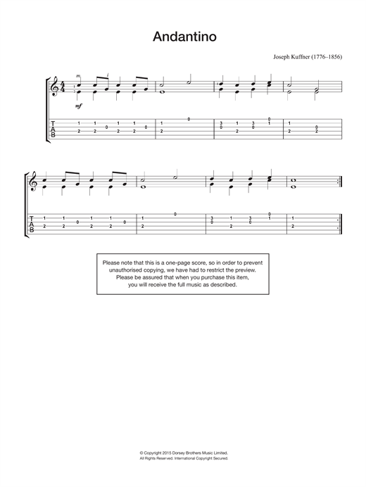 Joseph Kuffner Andantino sheet music notes and chords
