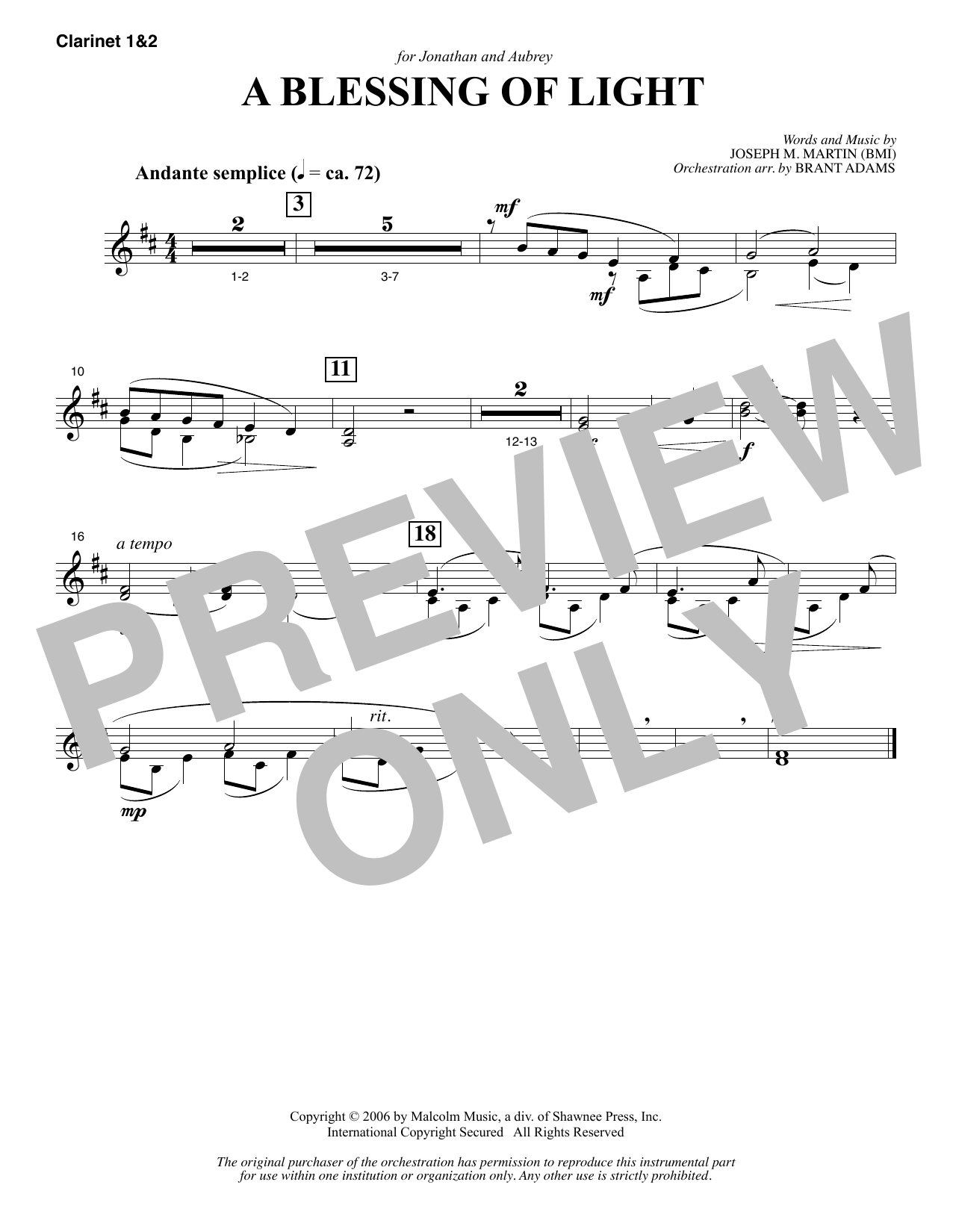 Joseph M. Martin A Blessing of Light - Bb Clarinet 1 & 2 sheet music notes and chords. Download Printable PDF.