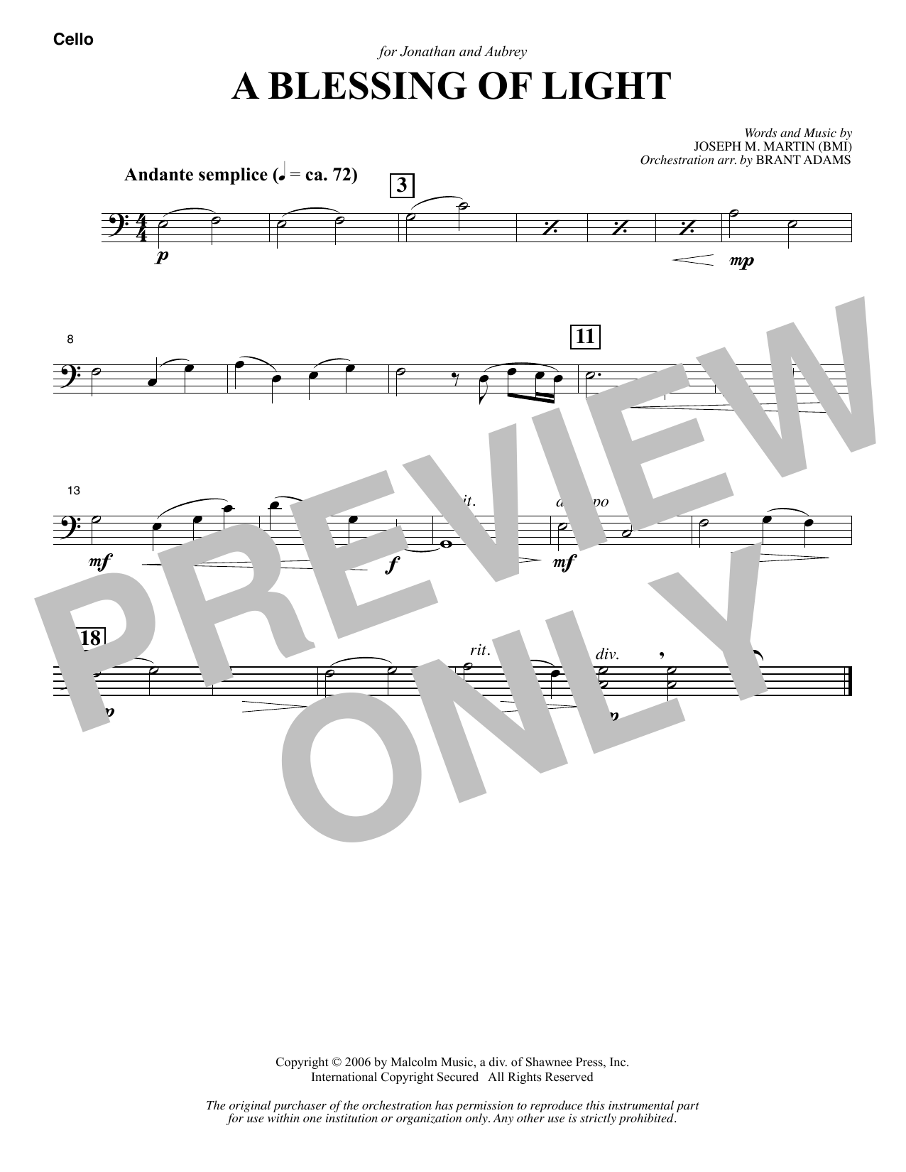 Joseph M. Martin A Blessing of Light - Cello sheet music notes and chords. Download Printable PDF.
