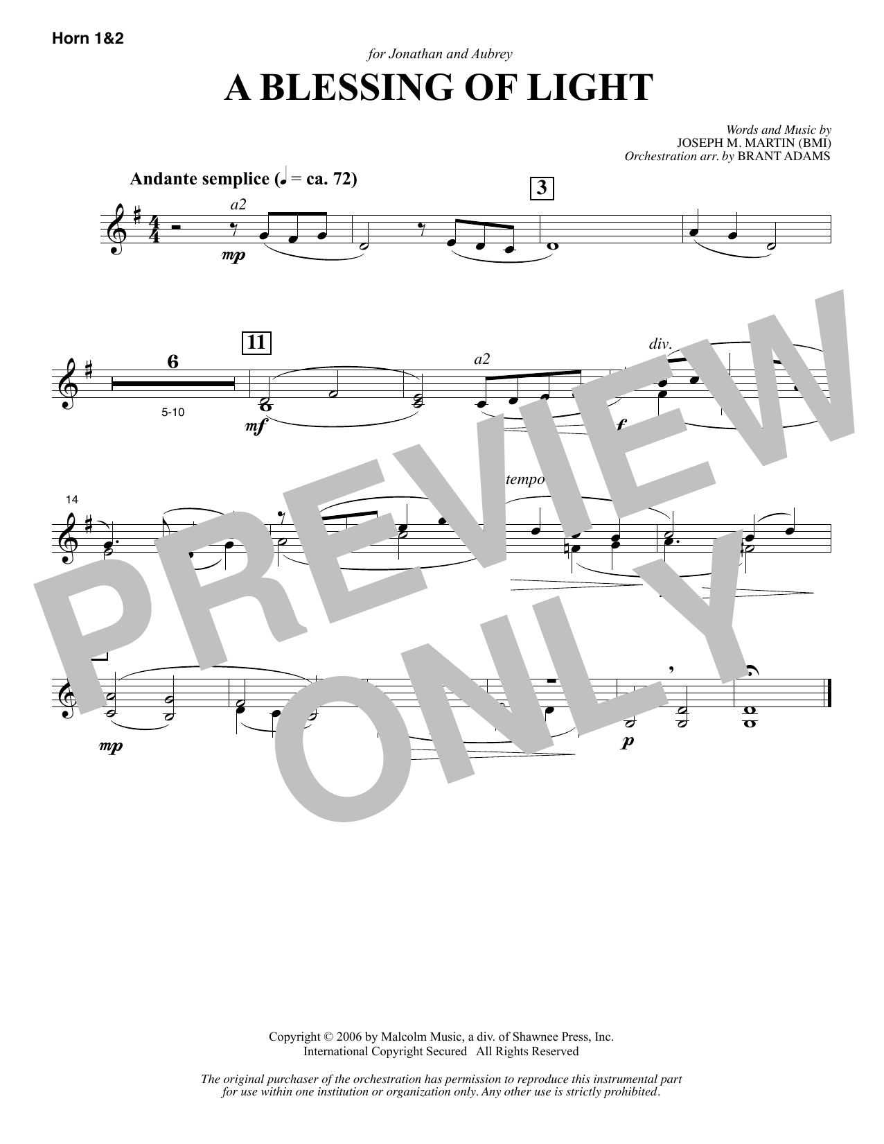 Joseph M. Martin A Blessing of Light - F Horn 1 & 2 sheet music notes and chords. Download Printable PDF.