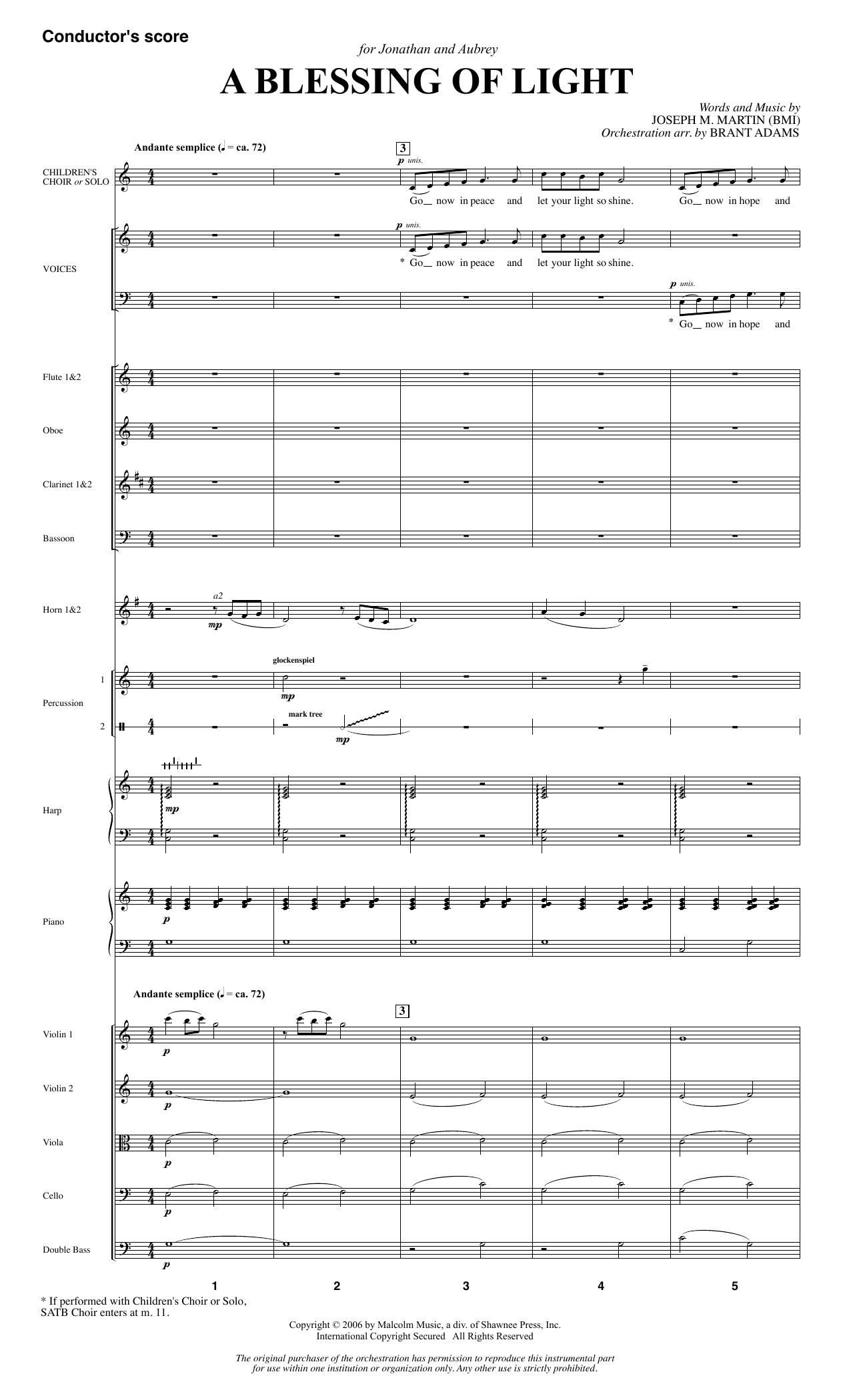 Joseph M. Martin A Blessing of Light - Full Score sheet music notes and chords. Download Printable PDF.