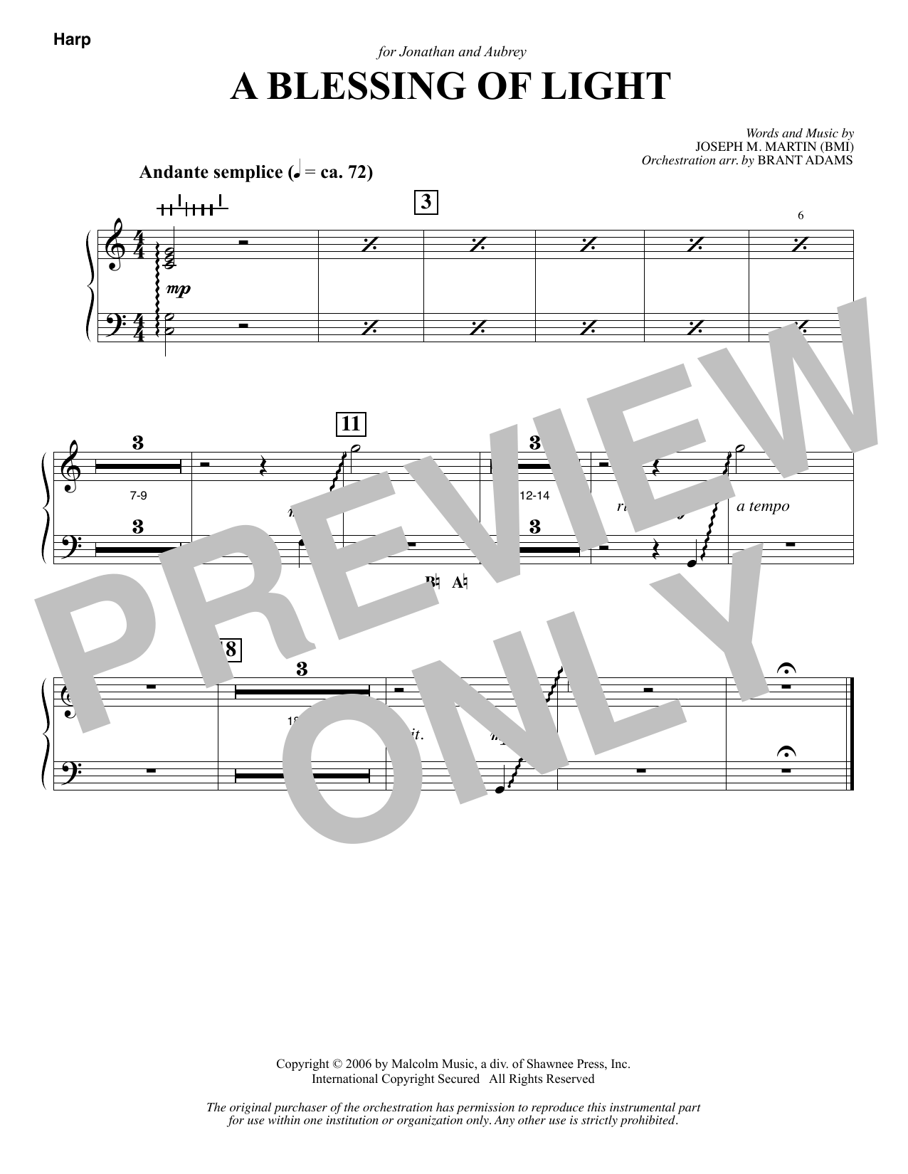 Joseph M. Martin A Blessing of Light - Harp sheet music notes and chords. Download Printable PDF.