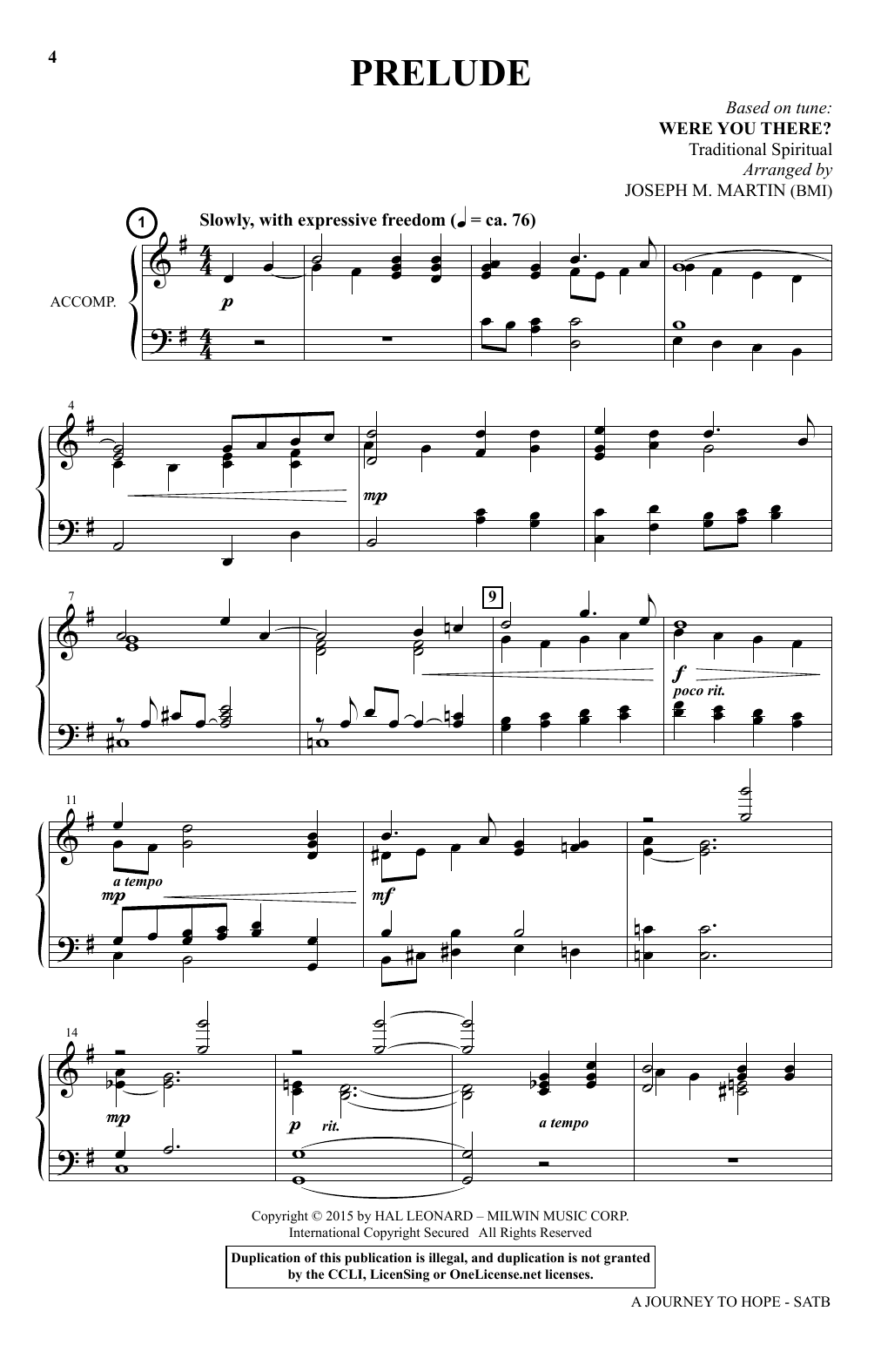 Joseph M. Martin A Journey To Hope (A Cantata Inspired By Spirituals) sheet music notes and chords. Download Printable PDF.
