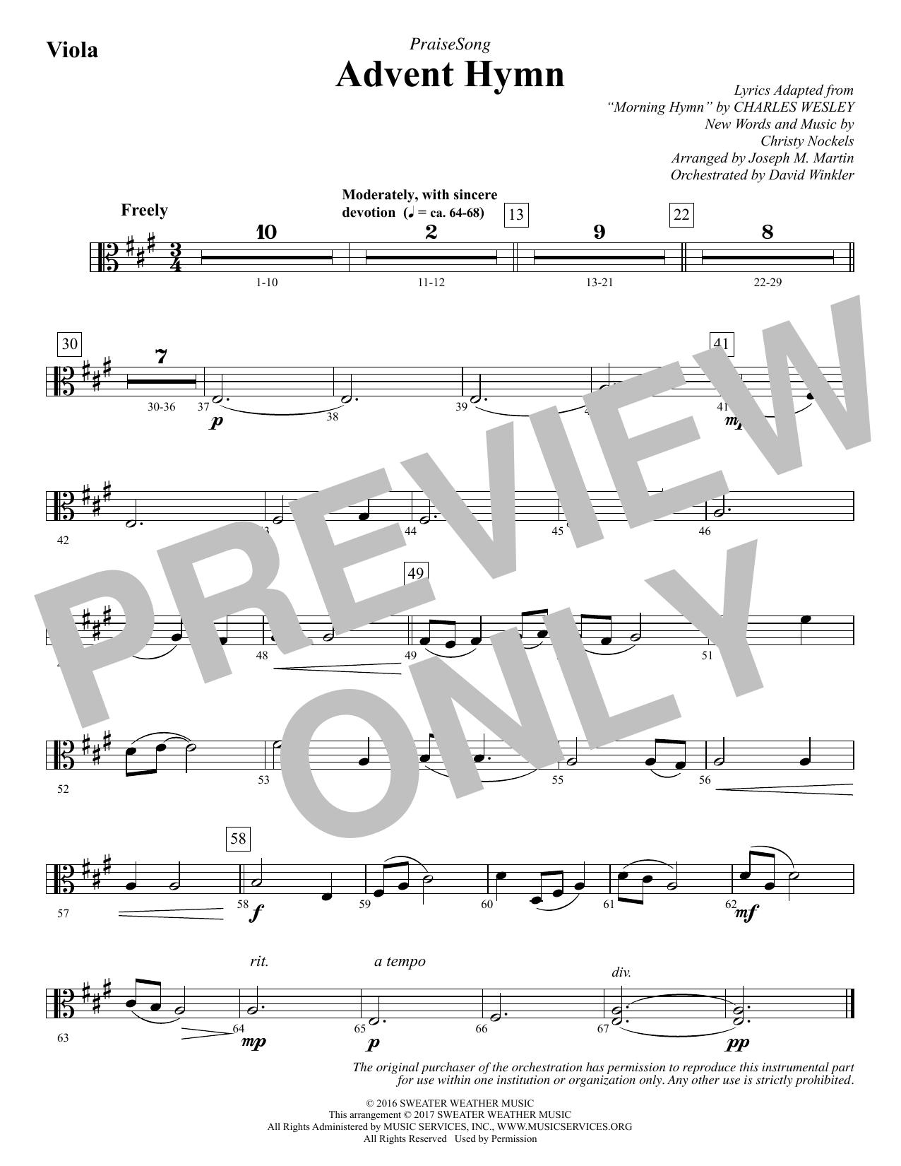 Joseph M. Martin Advent Hymn - Viola sheet music notes and chords. Download Printable PDF.