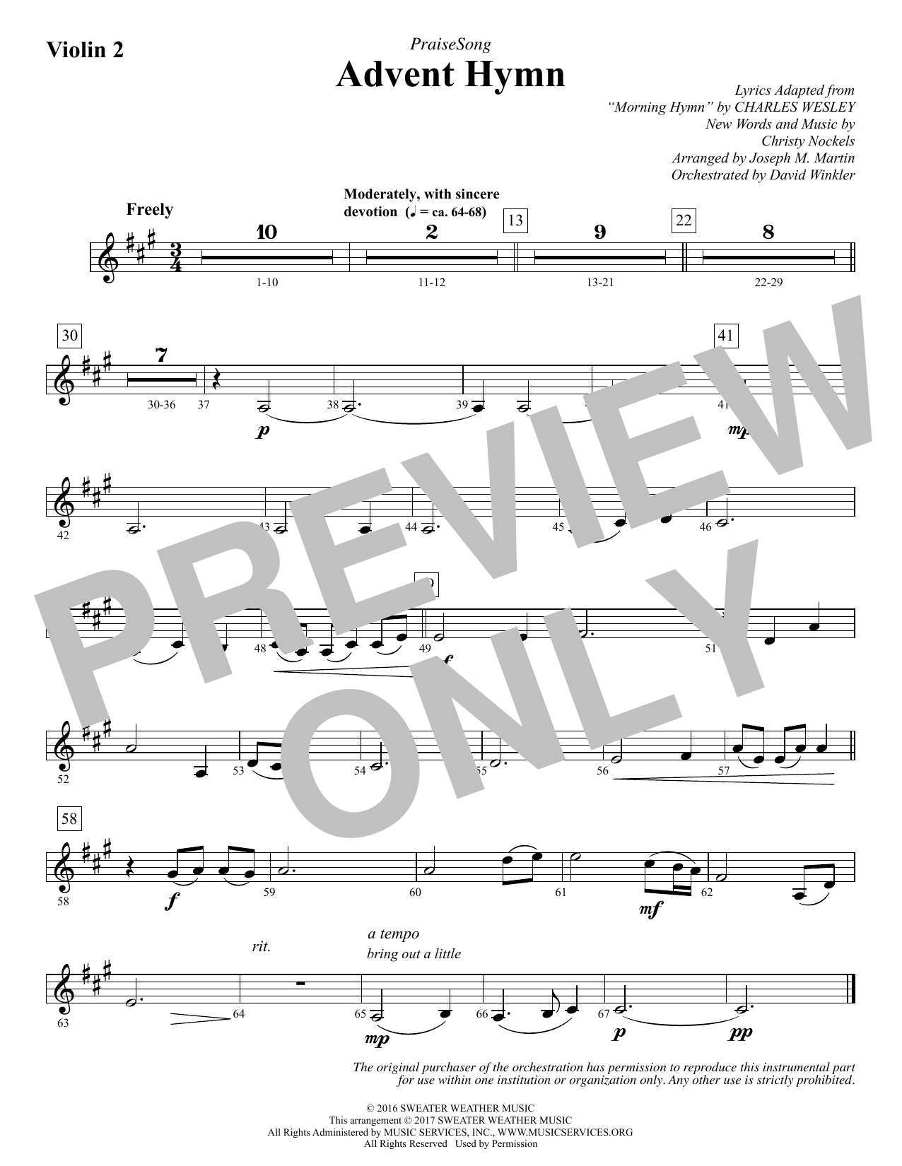 Joseph M. Martin Advent Hymn - Violin 2 sheet music notes and chords. Download Printable PDF.