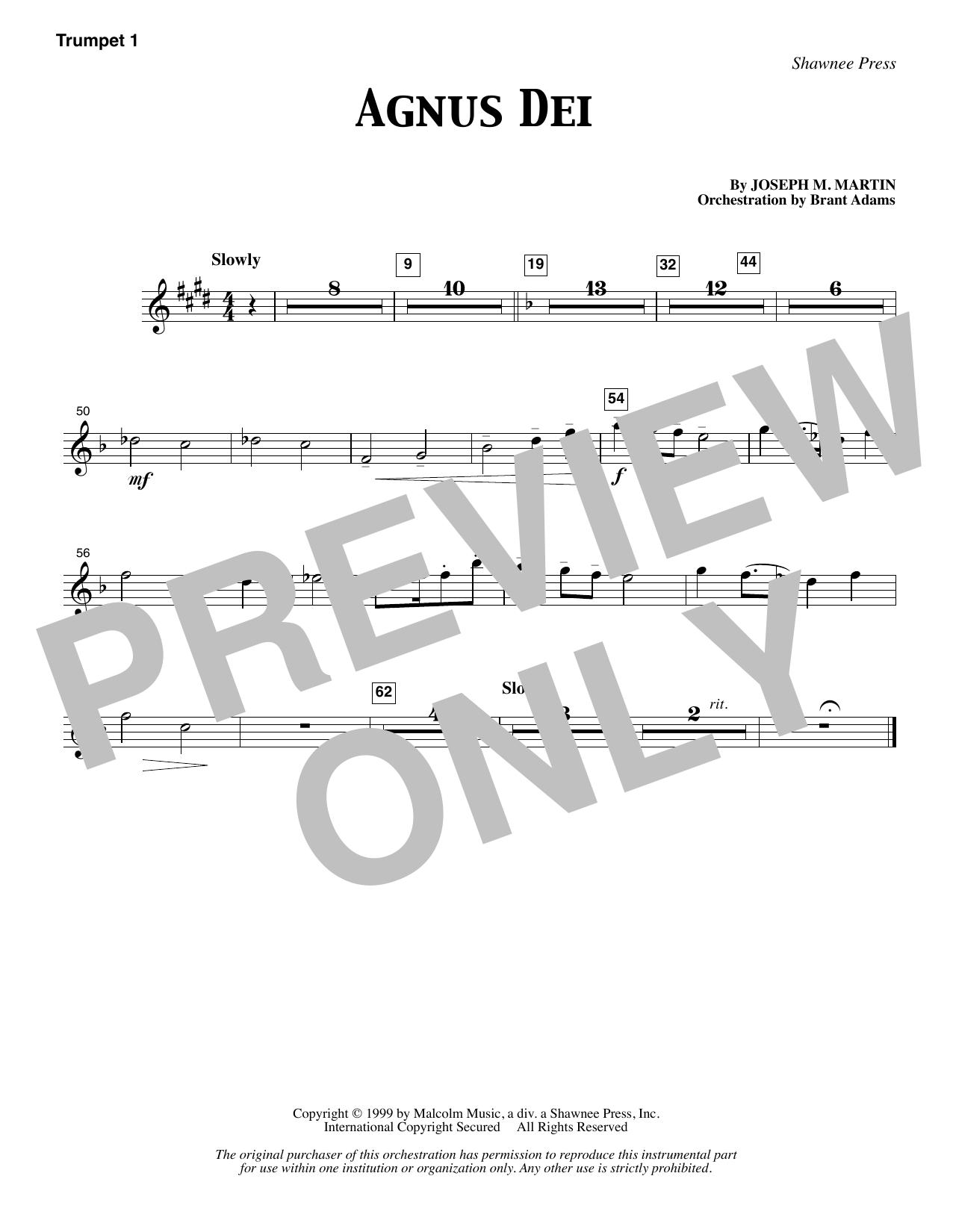 Joseph M. Martin Agnus Dei - Bb Trumpet 1 sheet music notes and chords. Download Printable PDF.