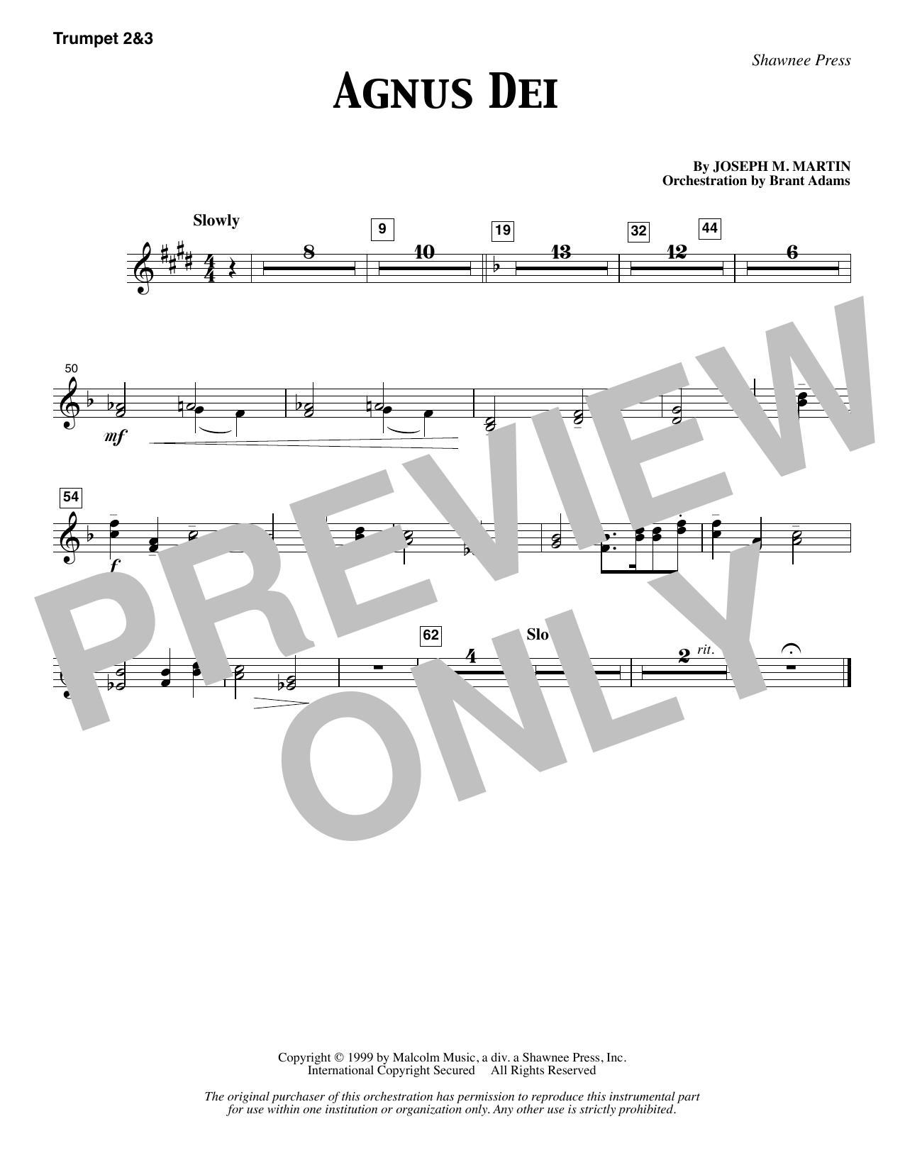 Joseph M. Martin Agnus Dei - Bb Trumpet 2,3 sheet music notes and chords. Download Printable PDF.