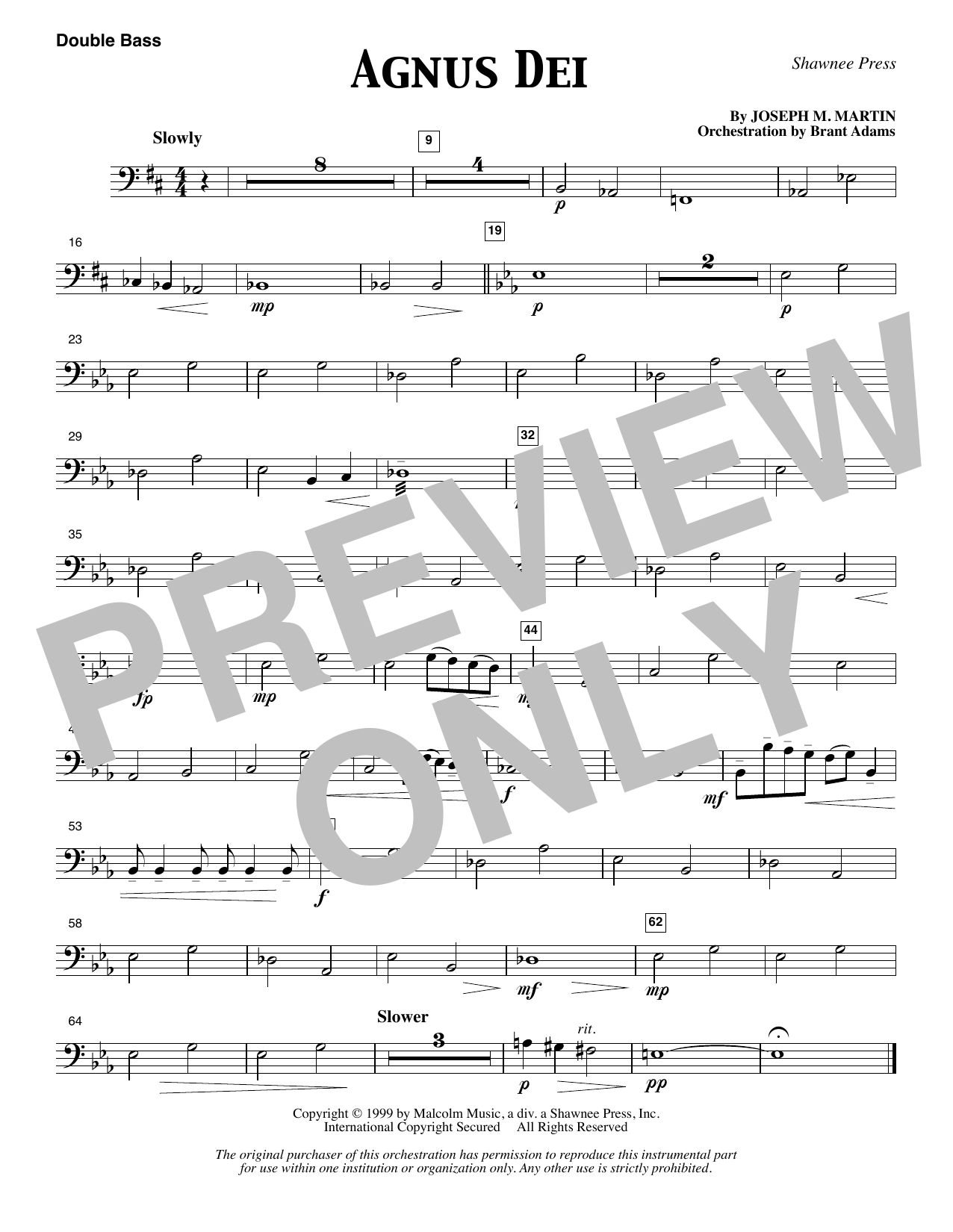 Joseph M. Martin Agnus Dei - Double Bass sheet music notes and chords. Download Printable PDF.