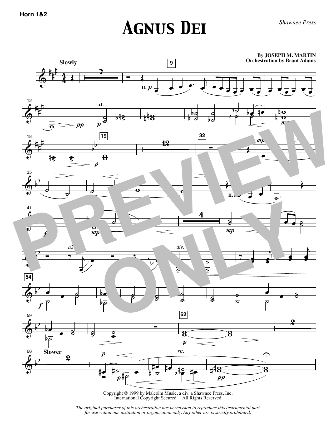 Joseph M. Martin Agnus Dei - F Horn 1 & 2 sheet music notes and chords. Download Printable PDF.