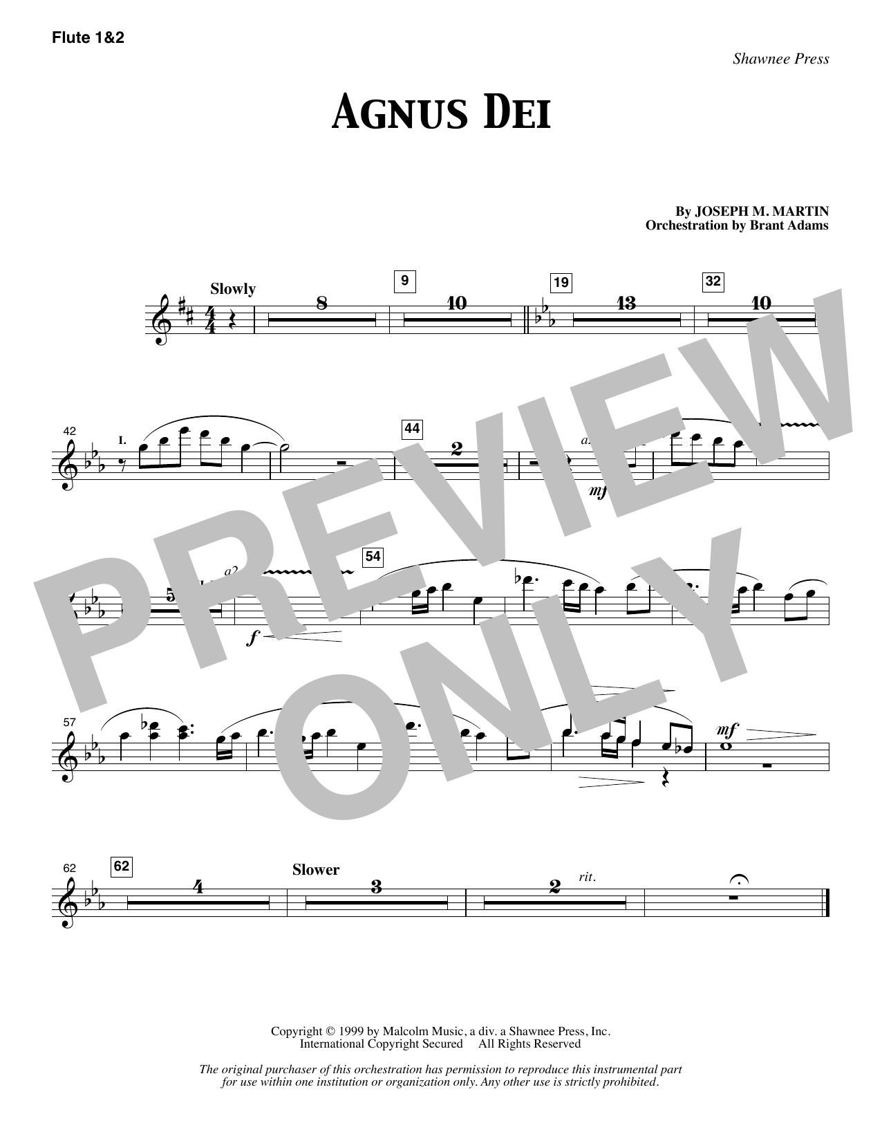 Joseph M. Martin Agnus Dei - Flute 1 & 2 sheet music notes and chords. Download Printable PDF.