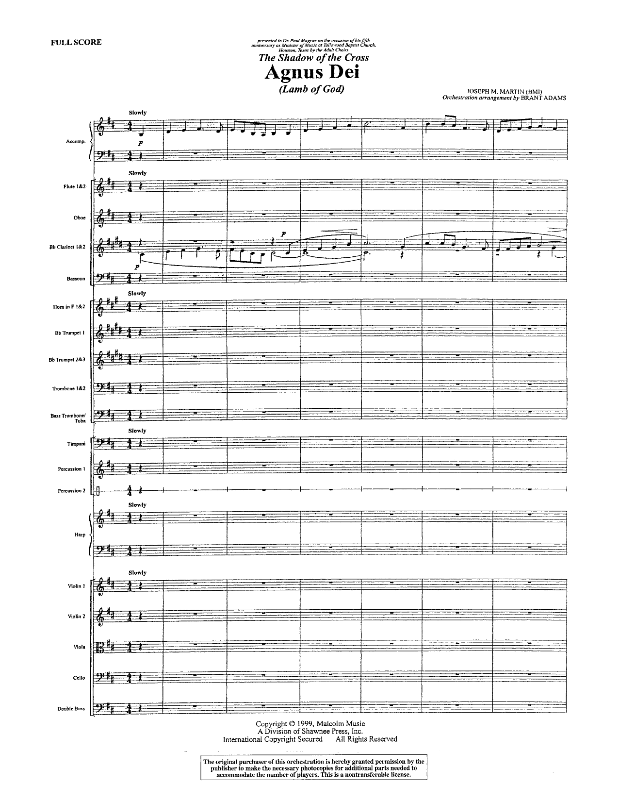 Joseph M. Martin Agnus Dei - Full Score sheet music notes and chords. Download Printable PDF.